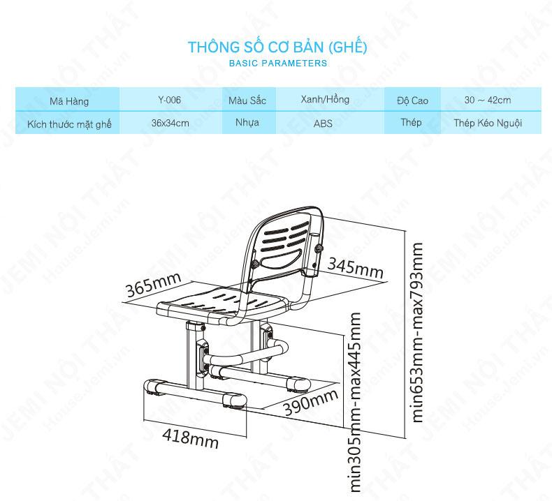 mô tả kích thước của bàn học cho bé, mô tả kích thước ghế