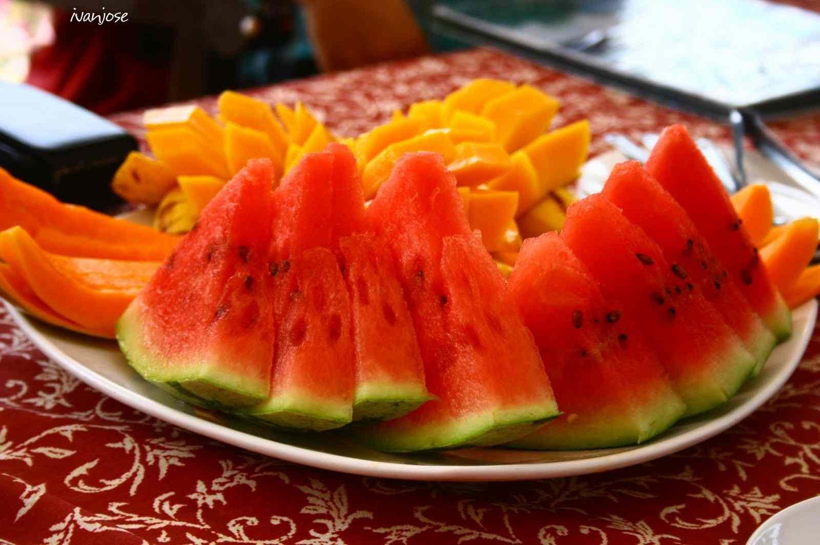 Fresh mango, melon, and watermelon slices at Sarangani Highlands in Mindanao