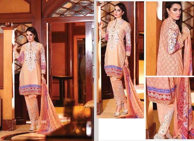 Nadia Hussain New Eid Light Orange color suits