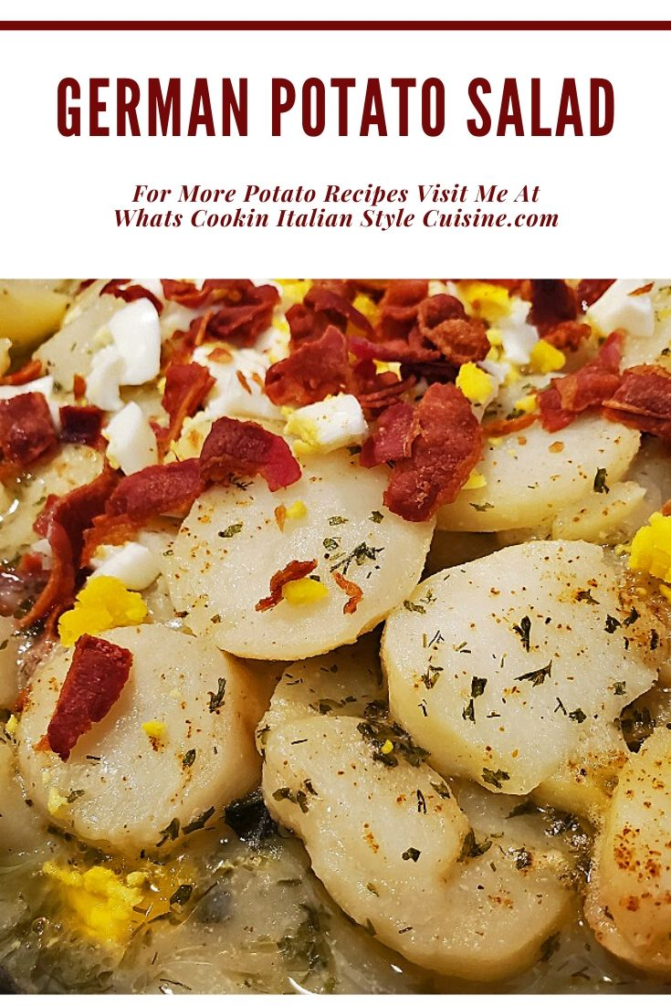 this is a pin on how to make a tangy potato salad with bacon and eggs in it