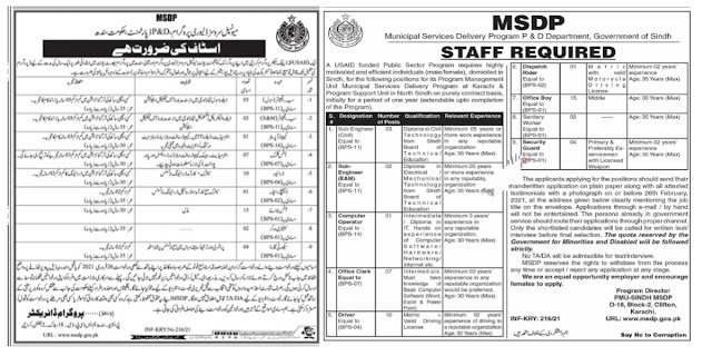 Latest Municipal Services Delivery Program MSDP Sindh Jobs 2021 For Engineer, Computer Operator, Office Clerk And More