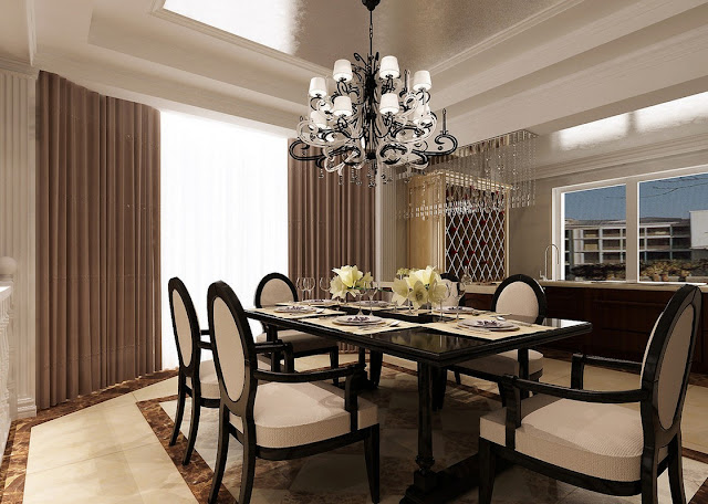 black and white accent of chandeliers for dining room with amazing hanging lamp and simple curtain set