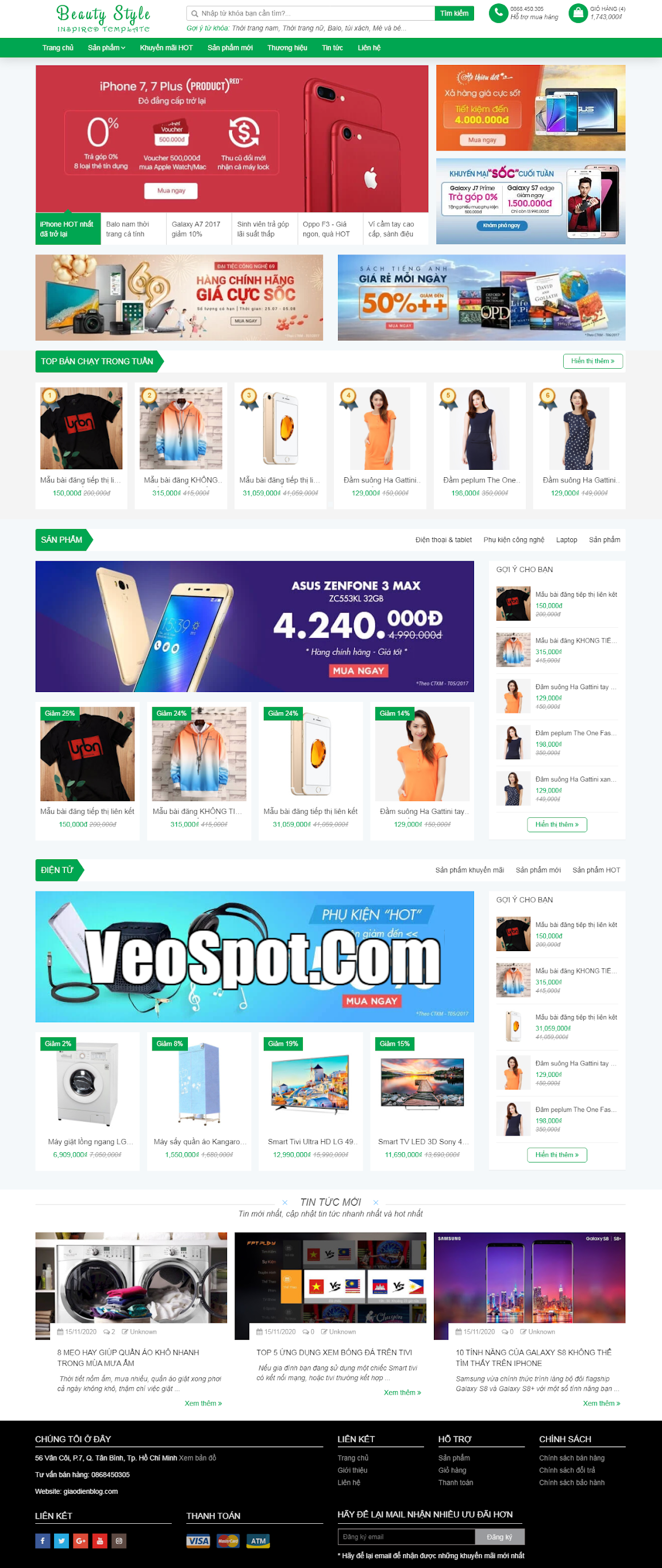 Beauty Style Affiliate Blogger template bán hàng đẹp
