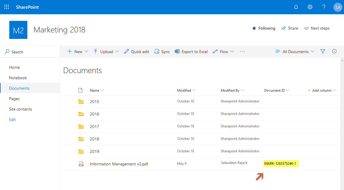 enable document id service sharepoint online