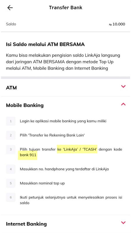 bank linkaja atau tcash