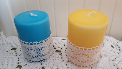 Lace edged candles