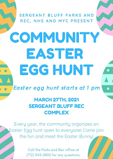 Information about the sergeant bluff community easter egg hunt on 3/27/21