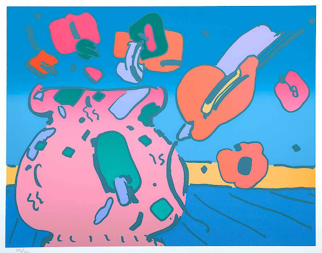 Peter Max 1979, flowers in a vase