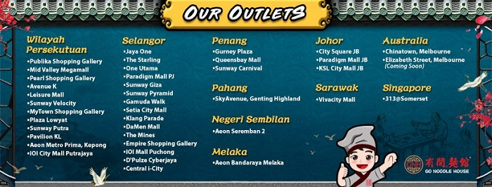 Go Noodle House Outlets In Malaysia Where
