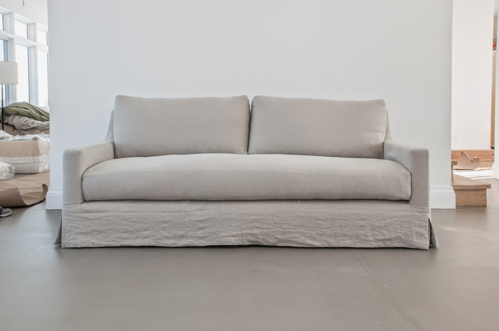 belgian linen sofa what is the most comfortable bed building walnut farm slipcovered furniture restoration hardware style