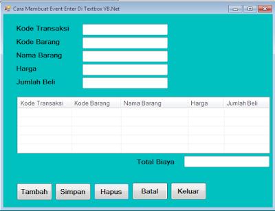 Membuat event enter pada sebuah textbox tentunya memiliki tujuan masing-masing, ada yang untuk memindahkan kursor, ada yang untuk melakukan proses penjumlahan setelah dilakukan event enter,  ada yang untuk melakukan proses pengisian listview dari textbox yang diberi event enter,