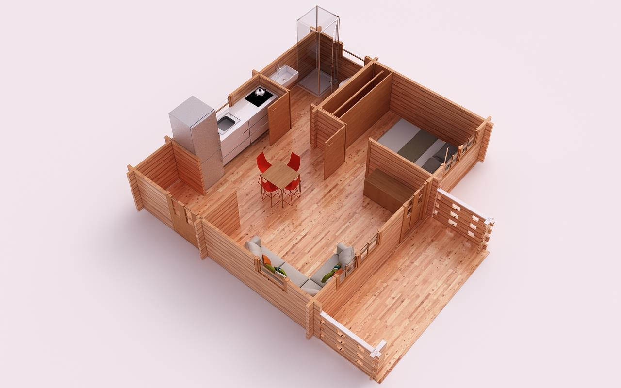 The budget is one of the most important things we consider in building a house. If you are a cost-conscious person who wants to build a home for your family, you should consider building a small house. If you are looking for a design, you can consider the following we compiled for you. These houses are made of wood. We all know that wood is a durable material you can use in house construction.   The following designs are indeed small houses ideal for a couple that just starting up a family.  There are houses with one bedroom on the list also with two bedrooms for families with kids. House design comes with a 3D floor plan where you can visualize what's inside of these beautiful houses.