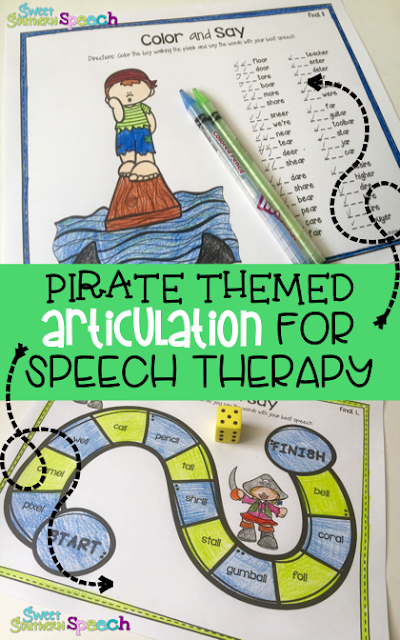 No prep articulation pirate themed activity for speech therapy