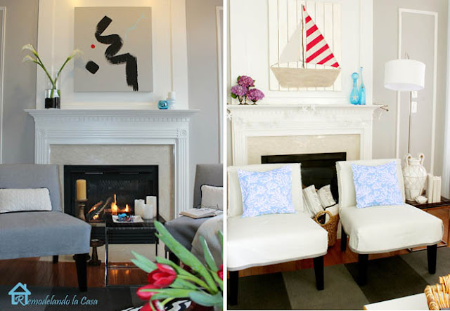 fireplace - mantel - modern art - sailboat summer art in family room
