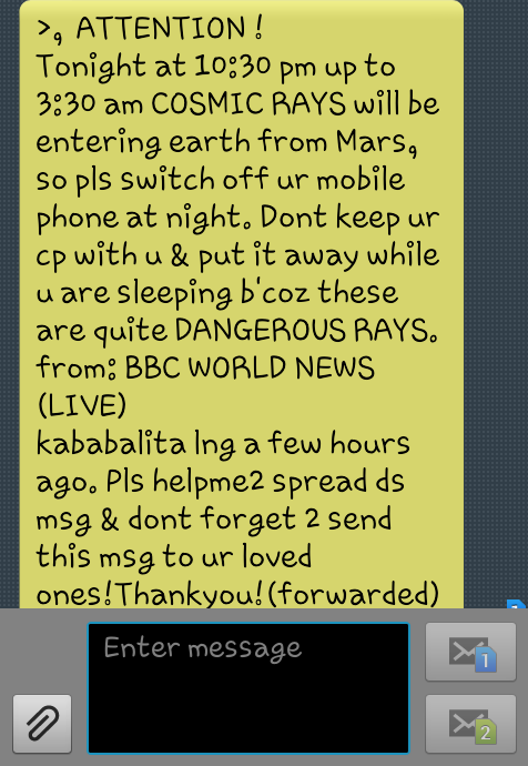 Cosmic Rays hoax text message