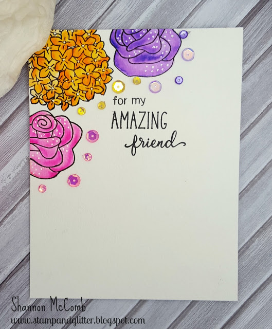 Floral card by Shannon McComb features Lovely Blooms and Love Grows stamp sets by Newton's Nook Designs, #newtonsnook