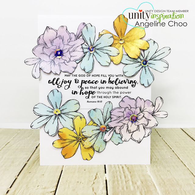 ScrappyScrappy: Unity Stamp & Graciellie Design Blog Hop - Blossom and Flourish & He will sustain you #scrappyscrappy #unitystampco #gracielliedesign #card #cardmaking #youtube #quicktipvideo #video  #primacolorbloomspray #primamarketing #blossomflourish #hewillsustainyou #bibleart #bibleverse #biblescripture #faithart #biblecard #faithcard #sequins