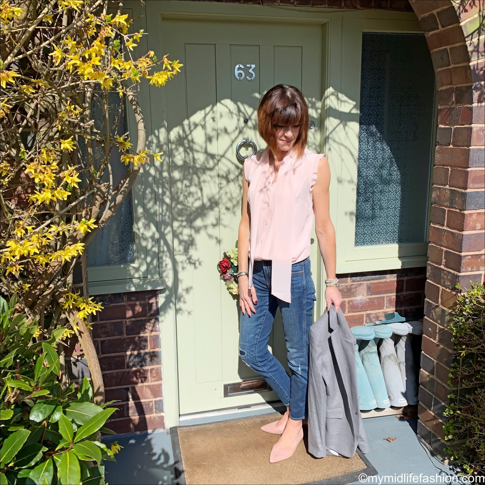 my midlife fashion, j crew vintage straight jean in rip and repair, h and m pointed ballet pumps, j crew rhodes blazer, peter hahn eta raasch sleeveless blouse in 100 percent silk