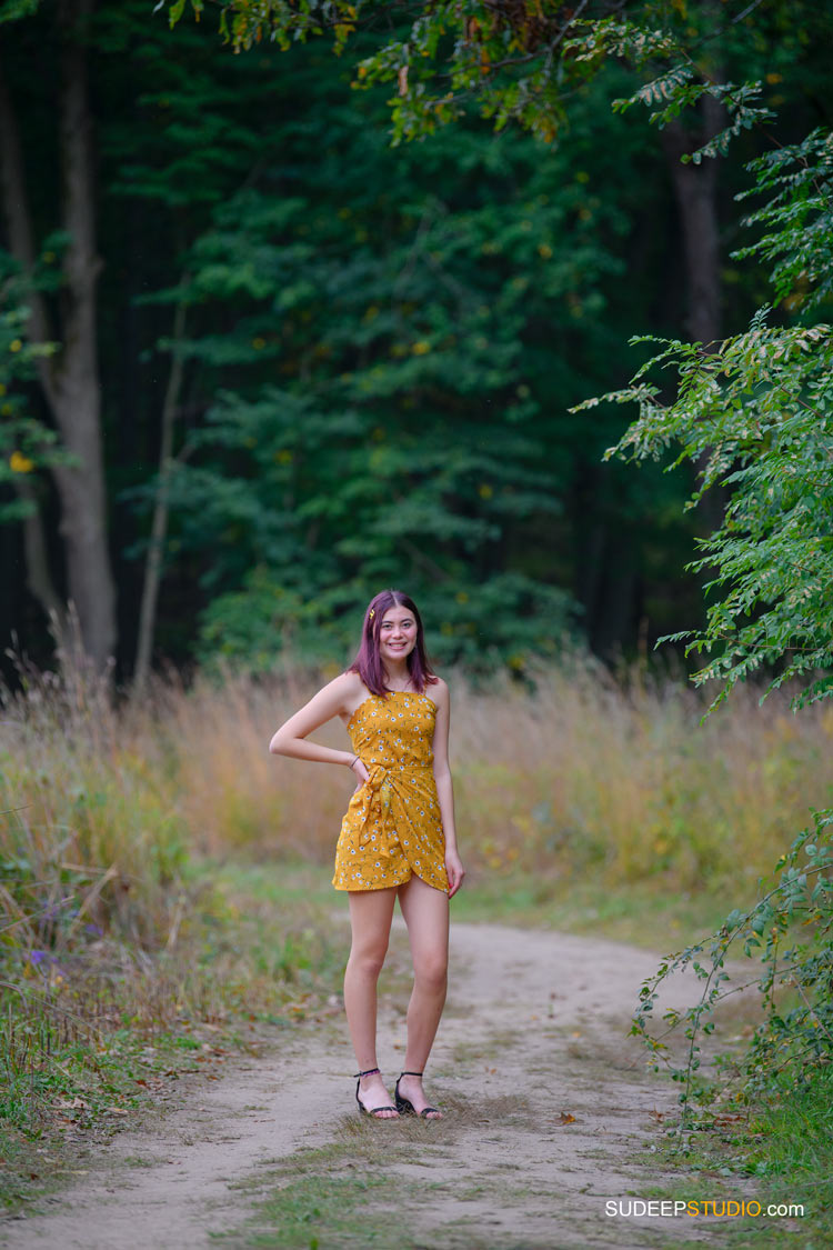 Huron High School Girls Senior Portrait in Nature Forest Woods SudeepStudio.com Ann Arbor Senior Pictures Photographer