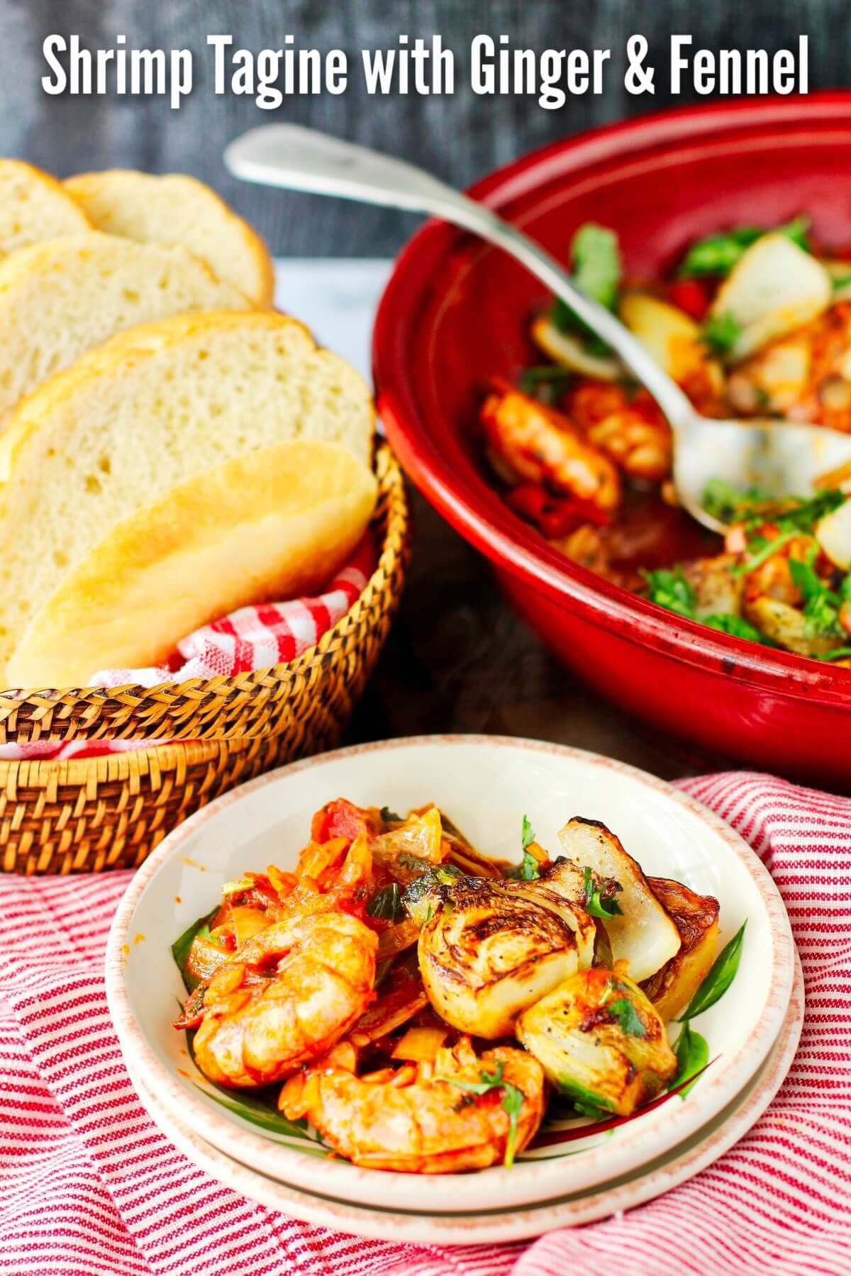 Moroccan Shrimp Tagine with Garlic, Ginger, and Fennel