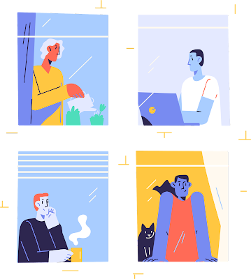 cartoon illustration showing 4 different people in Zoom windows conferencing together