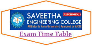 Saveetha University Exam Date Sheet 2020