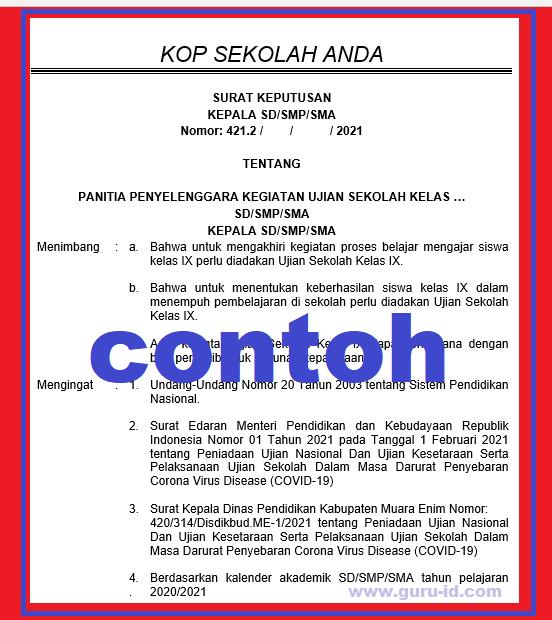 Contoh SK Panitia Ujian Sekolah SD SMP SMA Tahun 2021 ...