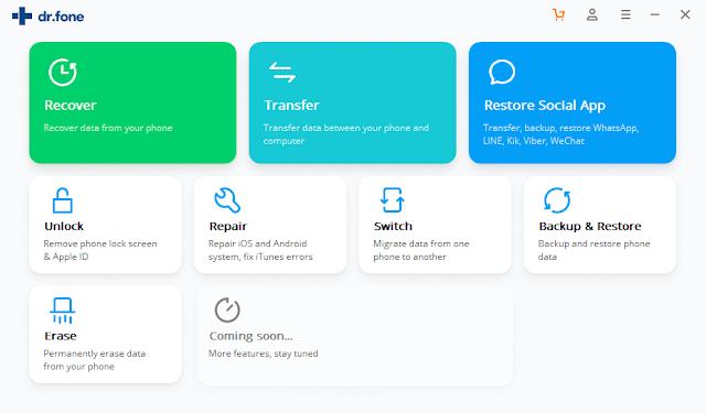 برنامج Dr.Fone toolkit for iOS and Android 10.0.12.65 لاسترجاع البيانات للاندرويد والايفون