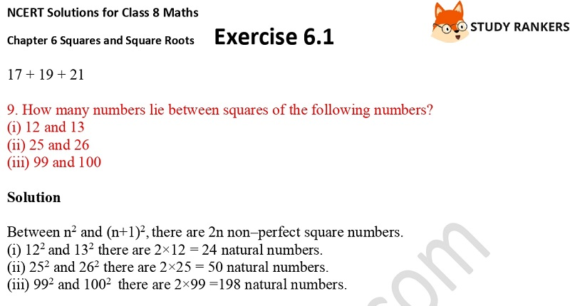 NCERT Solutions for Class 8 Maths Ch 6 Squares and Square Roots Exercise 6.1 5