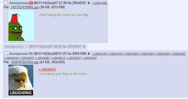 Greentext about moon on flag.