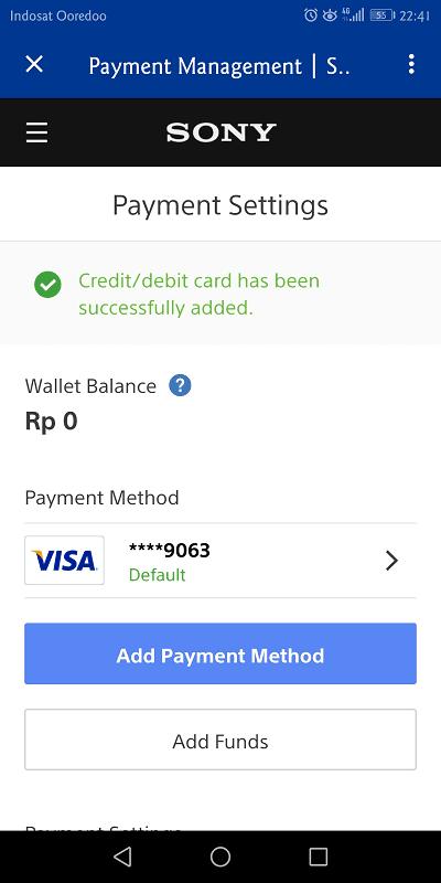kartu kredit jenius berhasil ditambahkan ke psn
