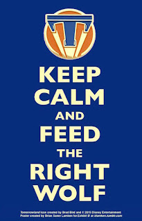 'T' icon/token from the movie 'Tomorrowland' against a blue background above the words 'Keep Calm and Feed the Right Wolf'
