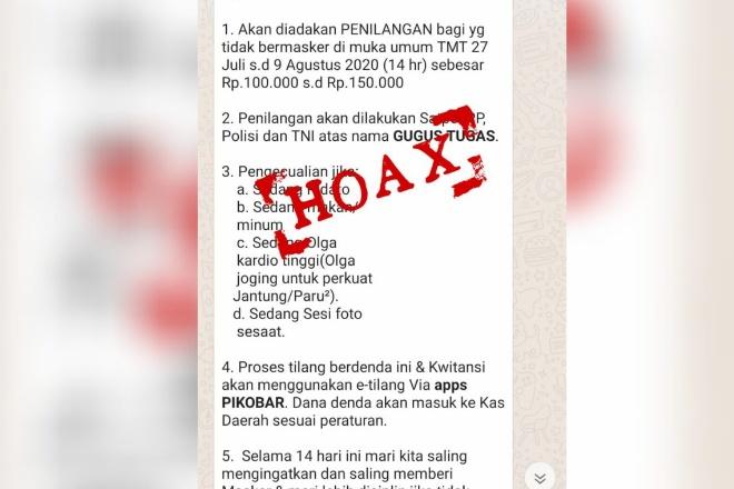 Hoax! Instruksi Gubernur Sulsel, Bagi Yang Tidak Pakai Masker Didenda Rp100-150 Ribu