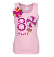 8th Birthday Girl Shirt Pink Swirl Lollipop