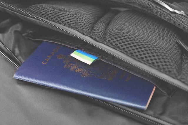 Kosan travel backpack passport compartment