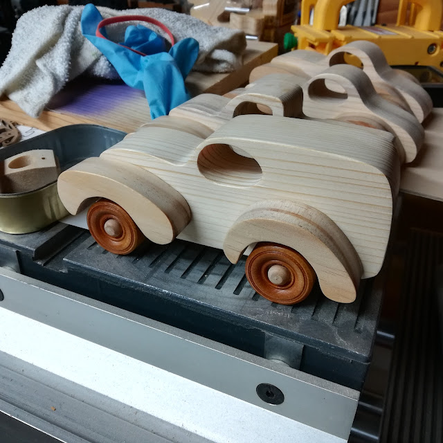 Handmade Wood Toy Panel Wagon/Truck Testing the Wheel Fit