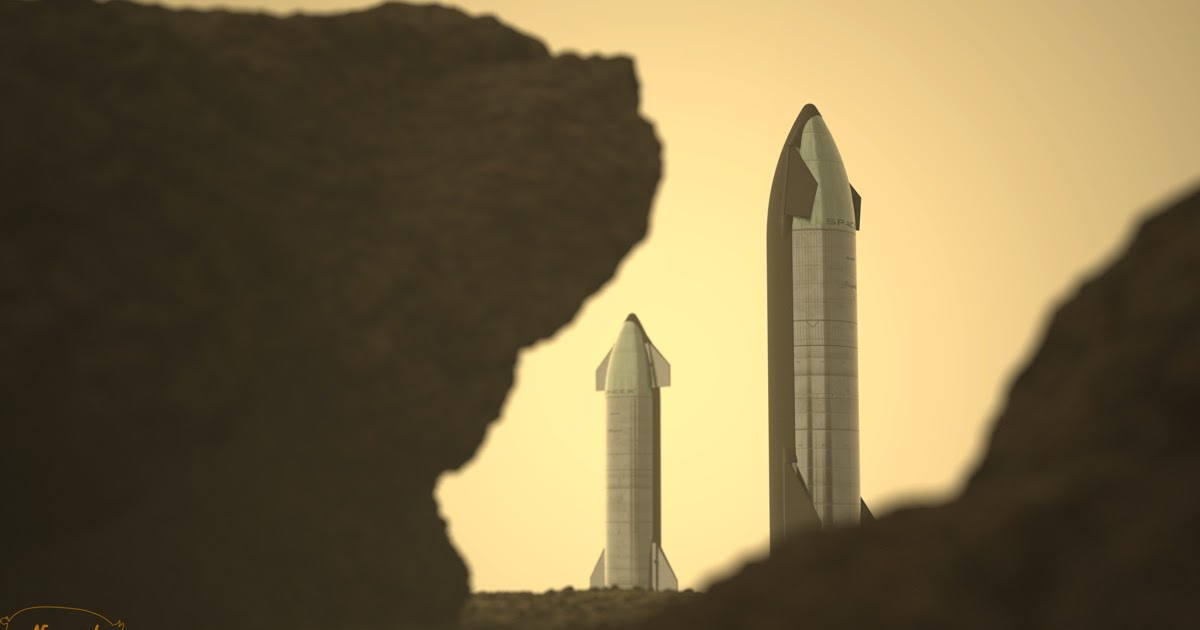 A pair of SpaceX cargo Starships on Mars by Bart Caldwell