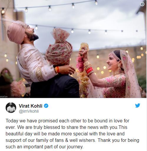 Tweet from Virat Kohli