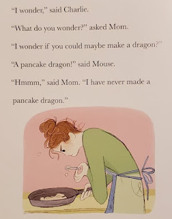 Interior image from Charlie and Mouse Even Better: Mom making pancake dragons
