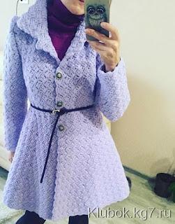 Casaco feminino de Crochê Com Saia Godê azul