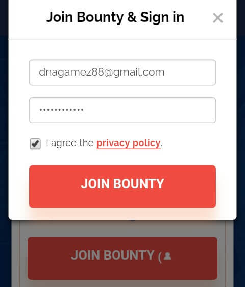 "Ketik Email dan Password kemudian Centang ""I agree the privacy policy"" dan klik ""Join Bounty""."