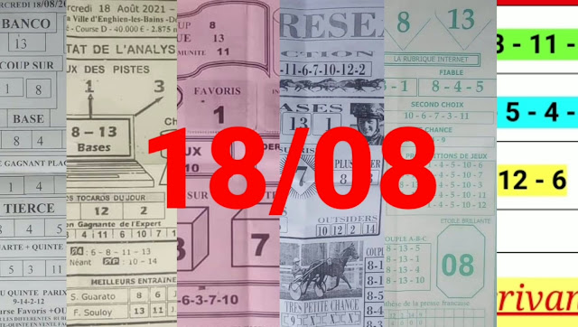 Pronostics quinté pmu mercredi Paris-Turf-100 % 18/08/2021