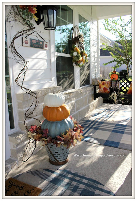 Fall- Porch-2019-Chalk-Painted-Stacked-Pumpkins-Olive-Bucket-From My Front Porch To Yours