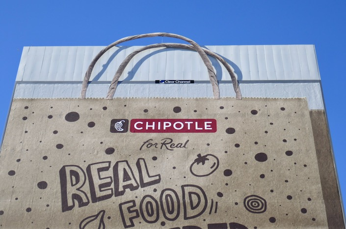 Chipotle 3D paper bag handles billboard