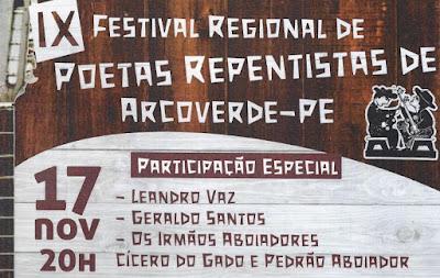 Arcoverde recebe o IX Festival de Poetas Repentistas