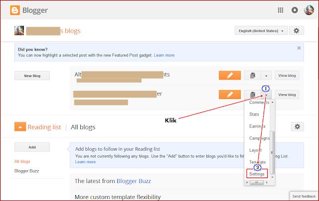 Dashboard Blogger Panduan Setting Redirect ke Domain Sendiri