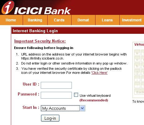 Start your online banking journey with ICICI Bank Safe Online Banking. Avoid queues and bank online with convenience at the comfort of your home. Start your journey now! Avoid queues and bank online with convenience at the comfort of your home.