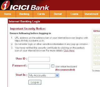 ICICI Bank Internet Banking Login Page