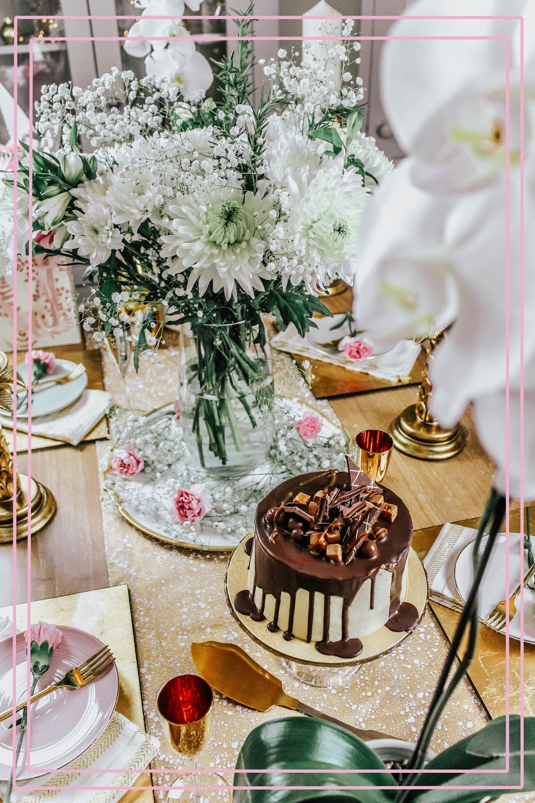 Romantic Gold and Pink Table Setting