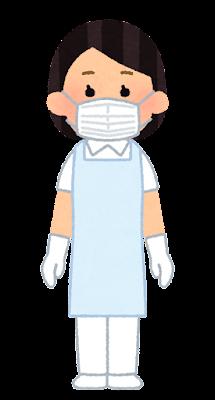 個人防護具のイラスト(エプロン・マスク・女性)